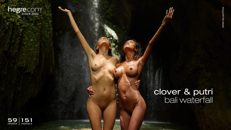 Clover and Putri - Bali Waterfall