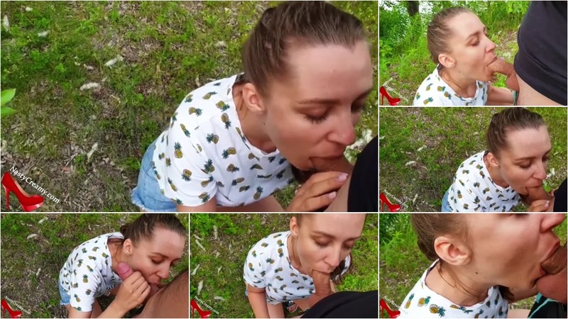 NastyCreamyX - Horny Teen Sucking Dick Stranger and Oral Creampie outside [FullHD 1080P]