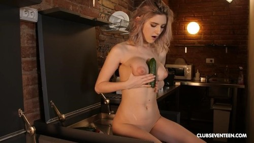 Tiny Teen - Busty Teen Rubbing Her Clit With A Cucumber [FullHD/1080p]
