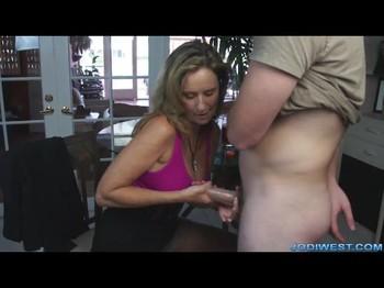 Stepmom sucks cock for son incest video