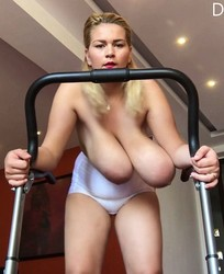 Busty topless on a treadmill