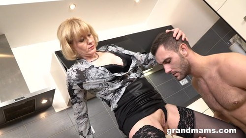 GrandMams.com - Grandma domina demanding her young sex slave to fuck her cunt 540p