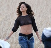 Rihanna Goes Topless While Filming Video in Ireland